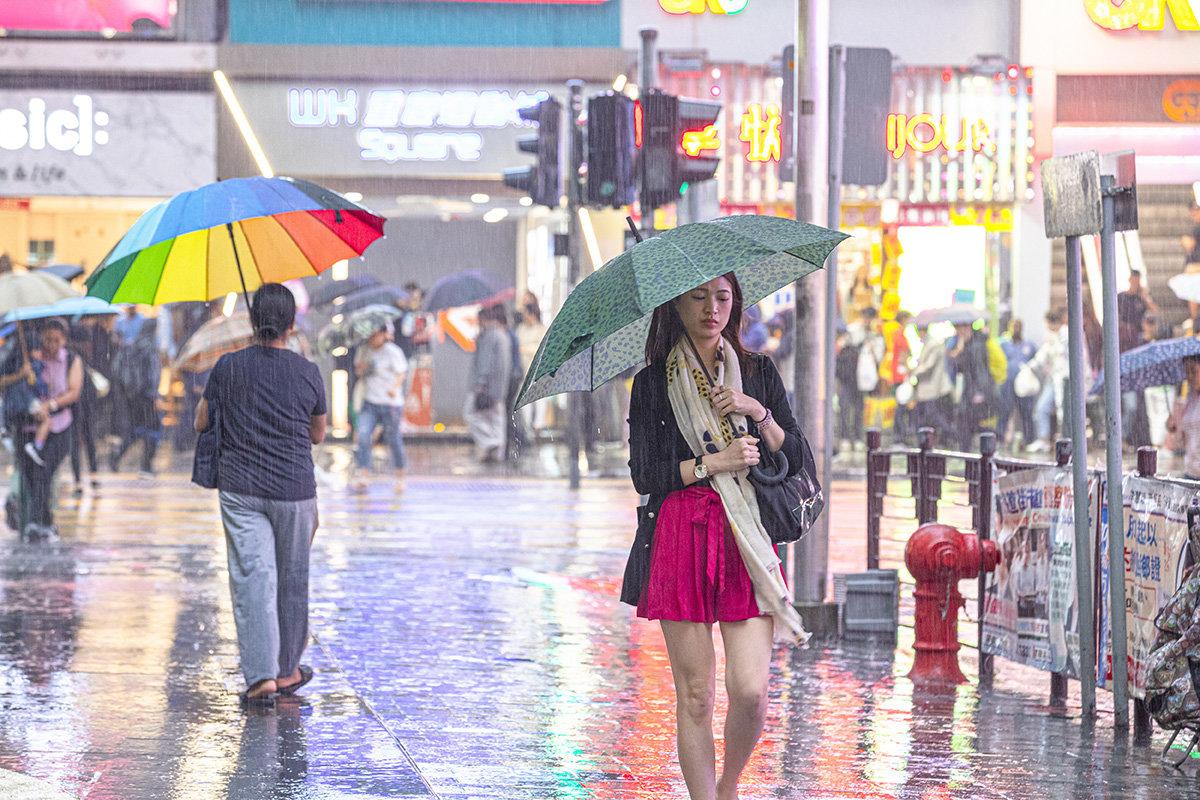 La couleur de la pluie a HONG KONG.